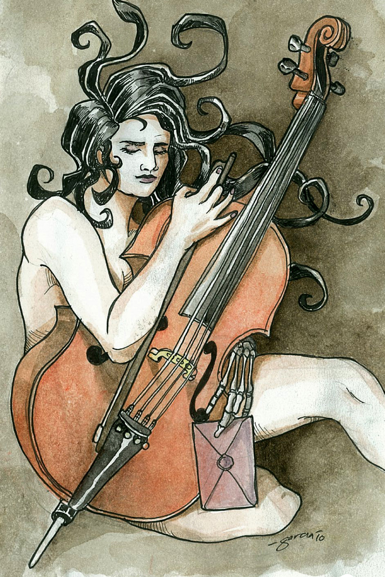 Daniel Garcia Art Illustration Intermitencias da Morte Saramago Death Cello
