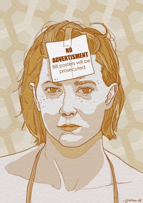 Daniel Garcia Art Illustration No Advertisement Girl Portrait Yellow paper