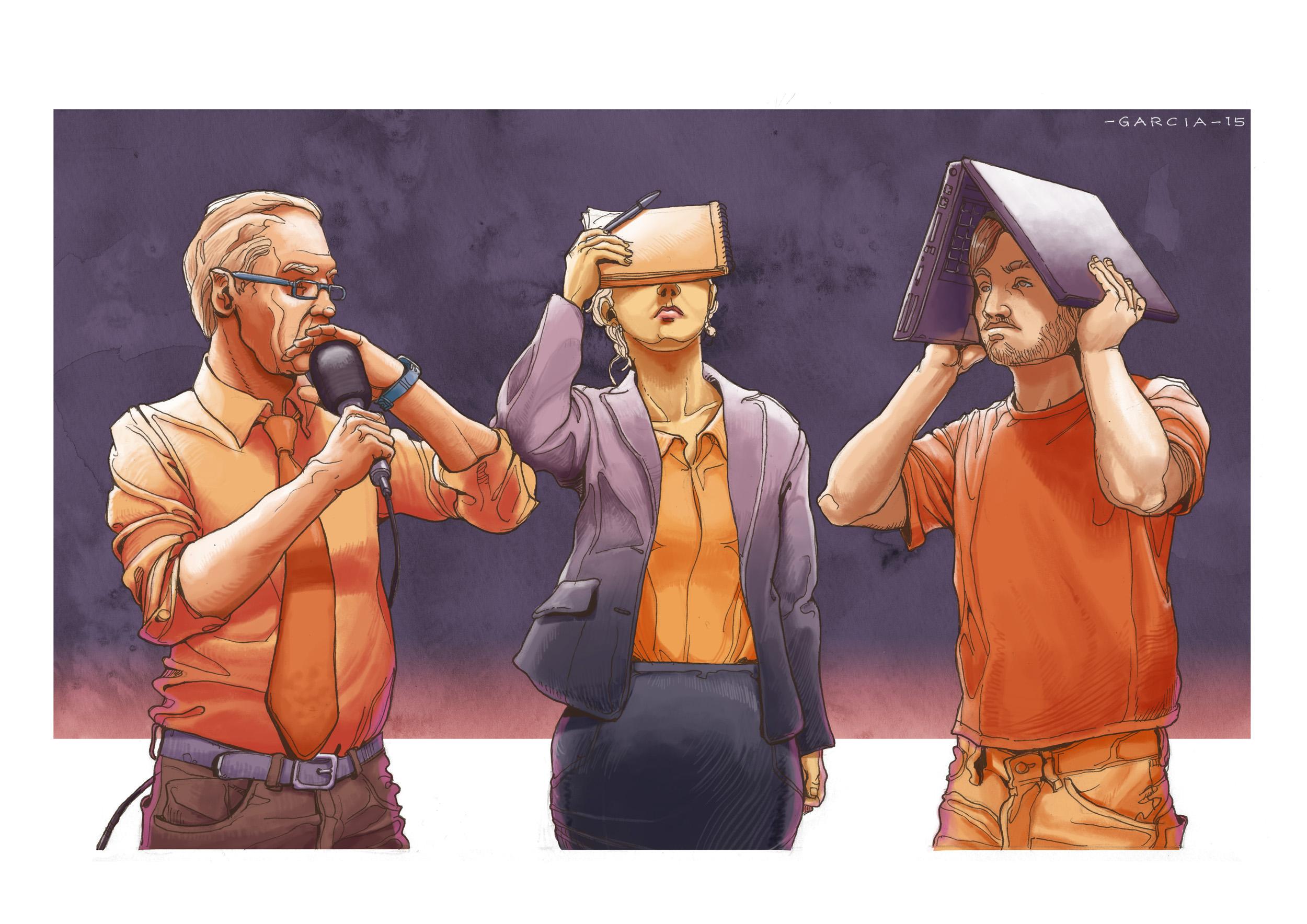 Daniel Gracia Art IllustrationTrzech Dziennikarzy Journlalism Journalists Tabu 01
