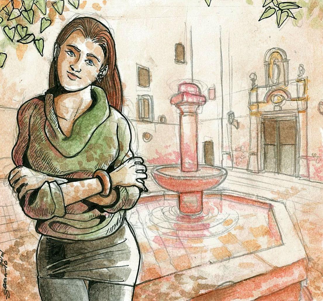 Daniel Garcia Art Illustration Barcelona Girl Watercolor CORRECTED