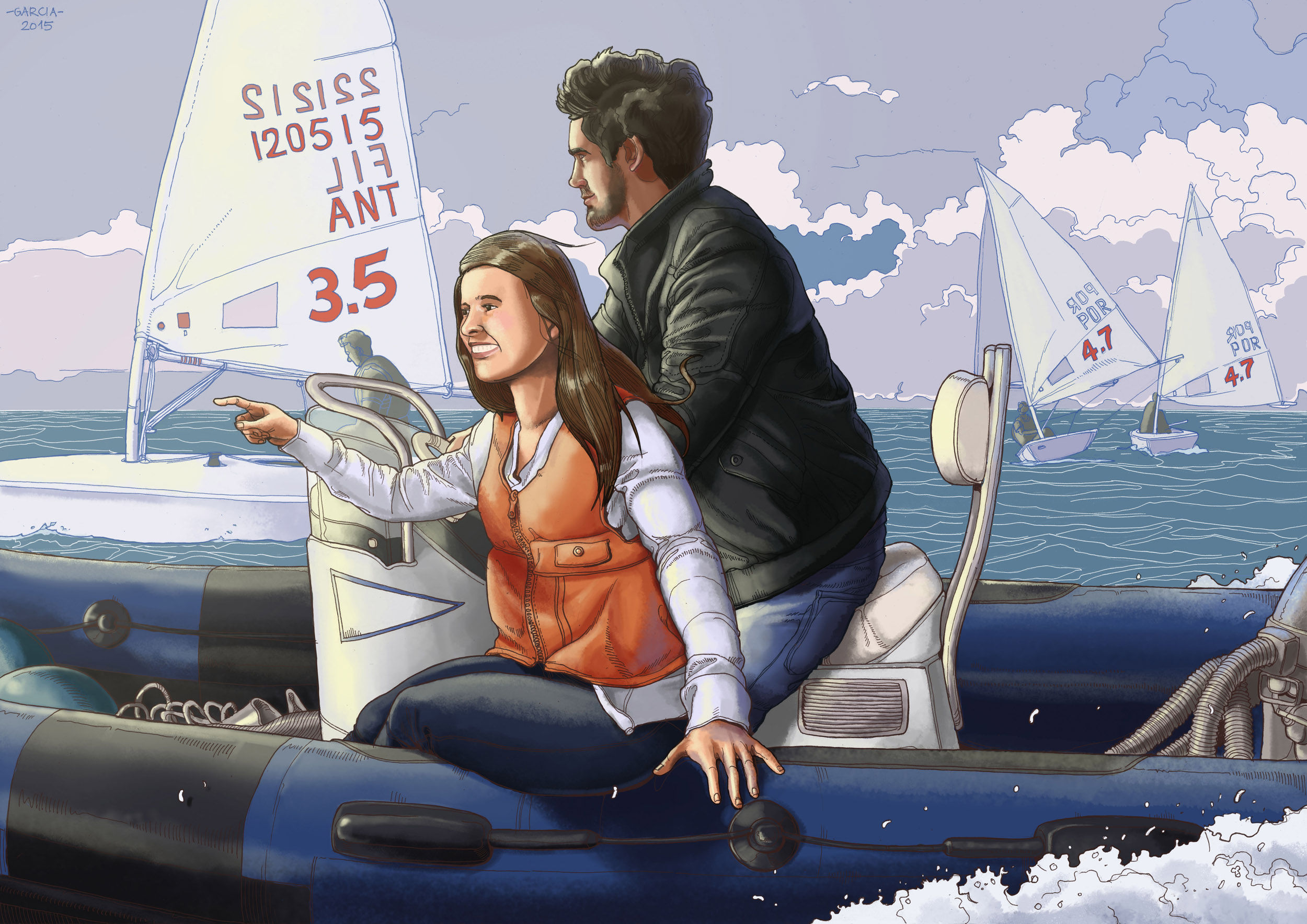 Daniel Garcia Art Illustration Couple Man Woman Boat Sea Portrait