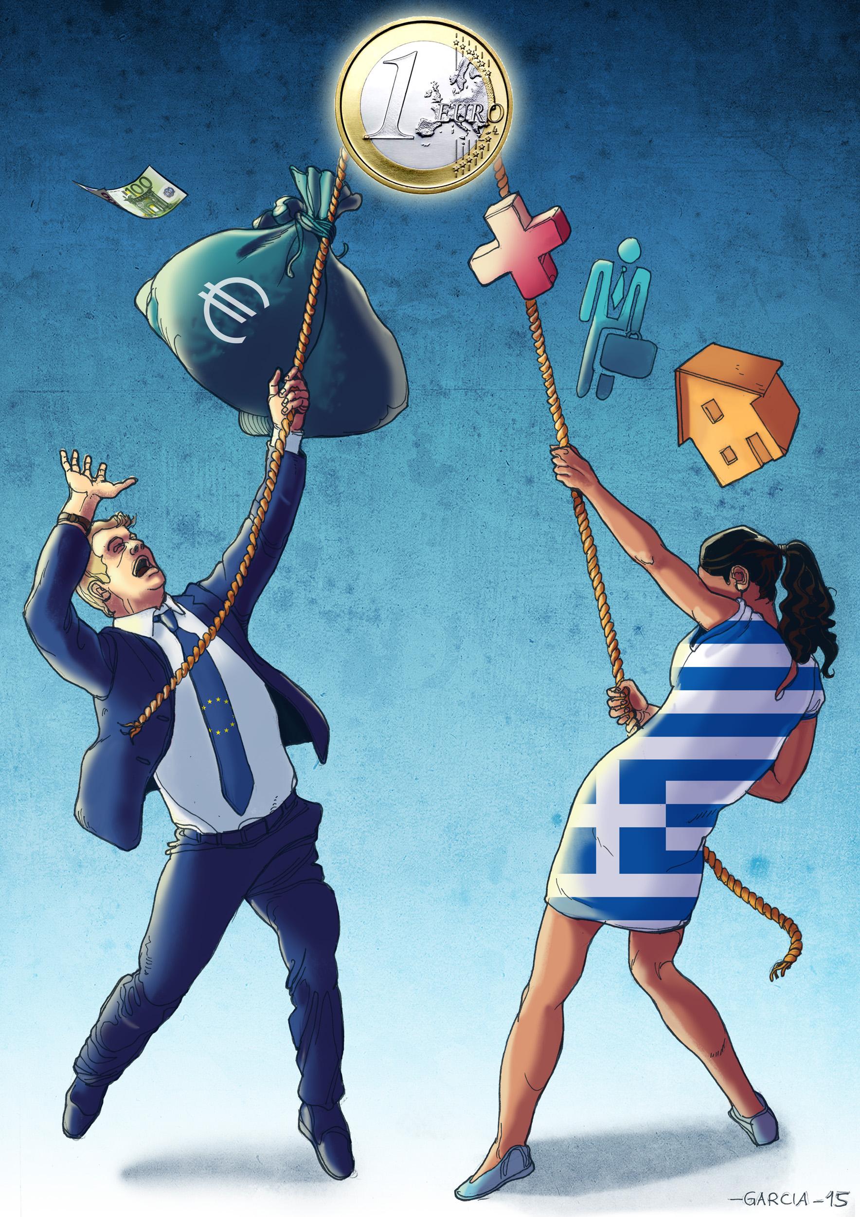 Daniel Garcia Art Illustration Greece Referendum Grexit Oxi Europe Crisis 2