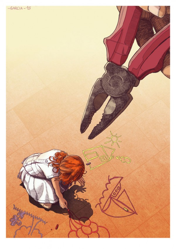 Daniel Garcia Art Illustration Society's Pliers Education Girl Artist Drawing