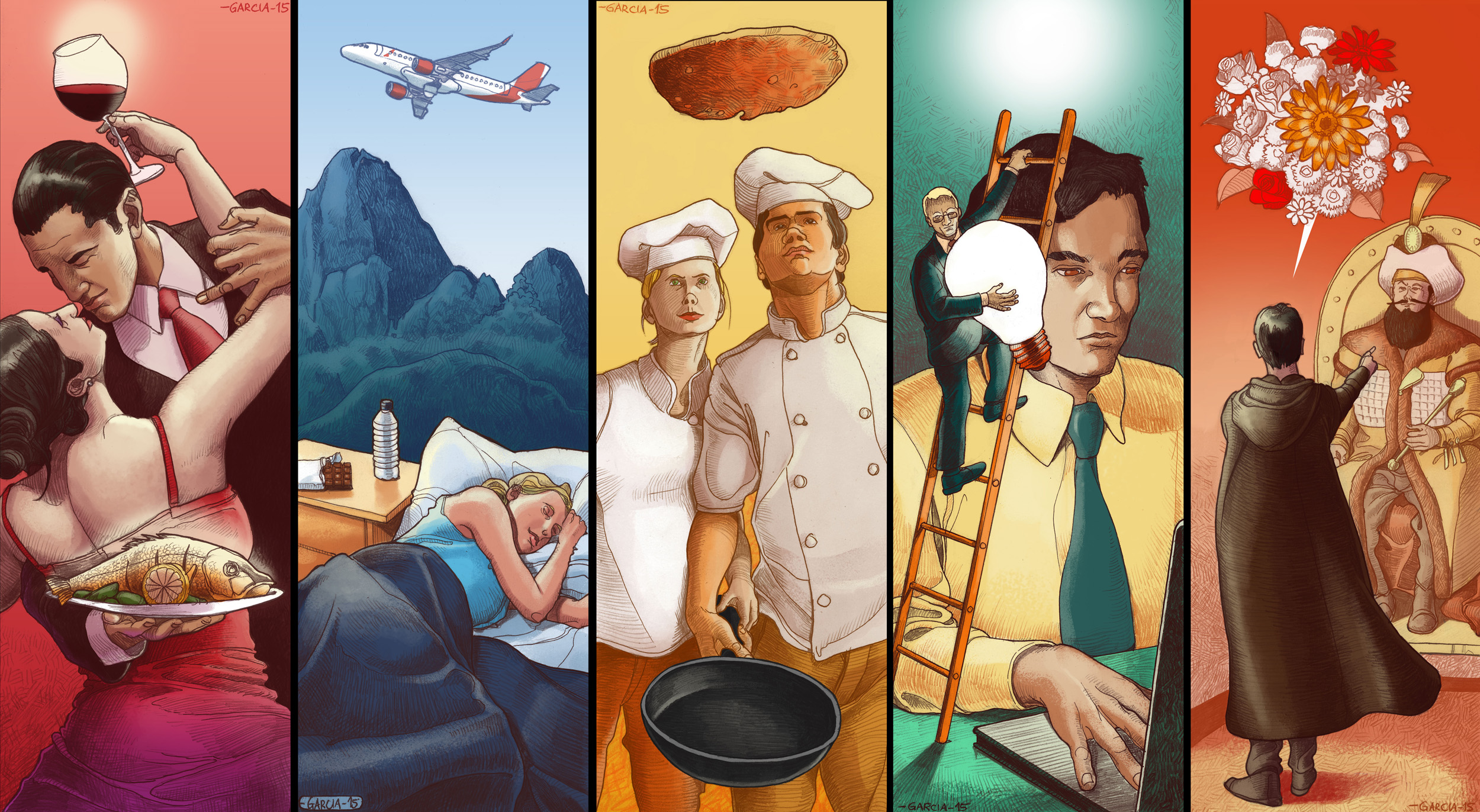 Daniel Garcia Art Illustration Avianca Cooking Wine Health Business 01