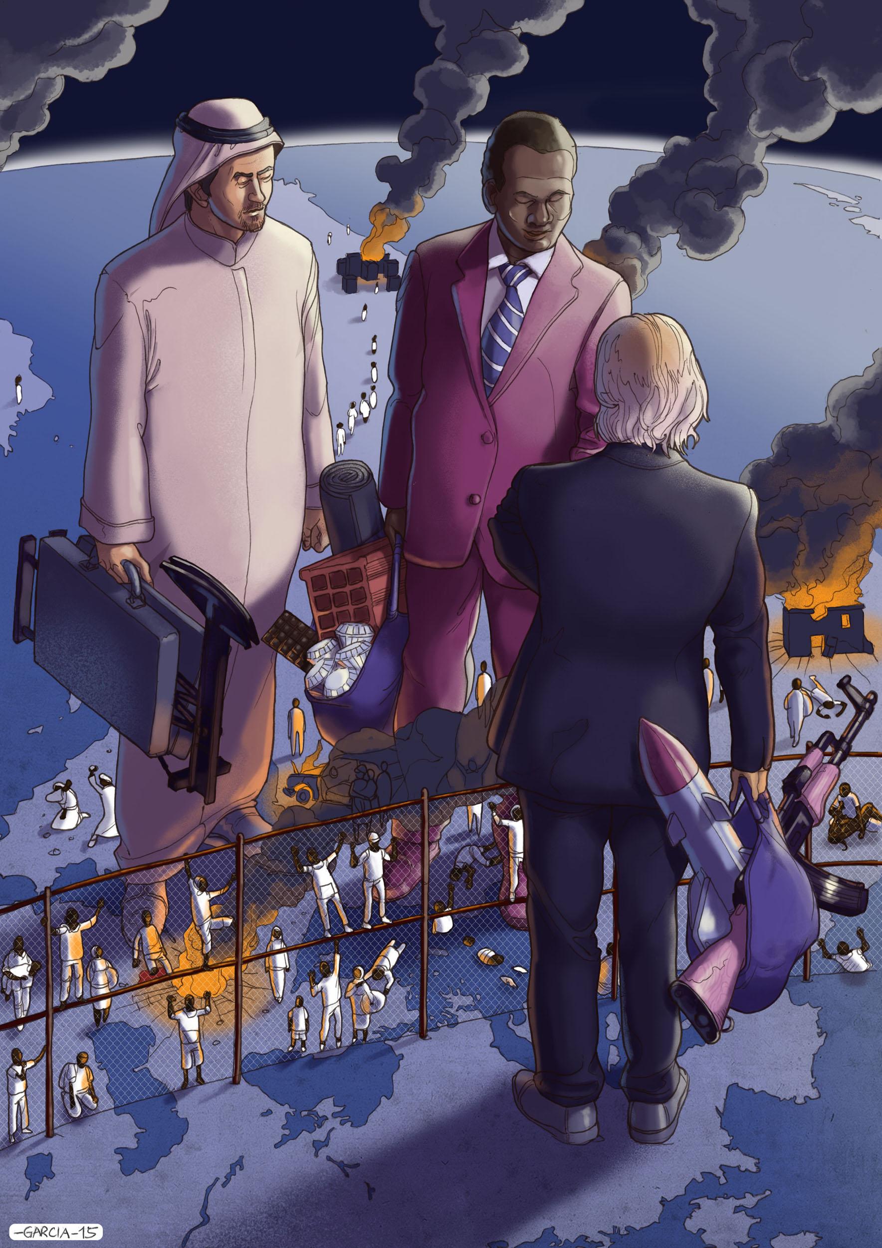 Daniel Garcia Art Illustration War Poverty Business refugees Migrations