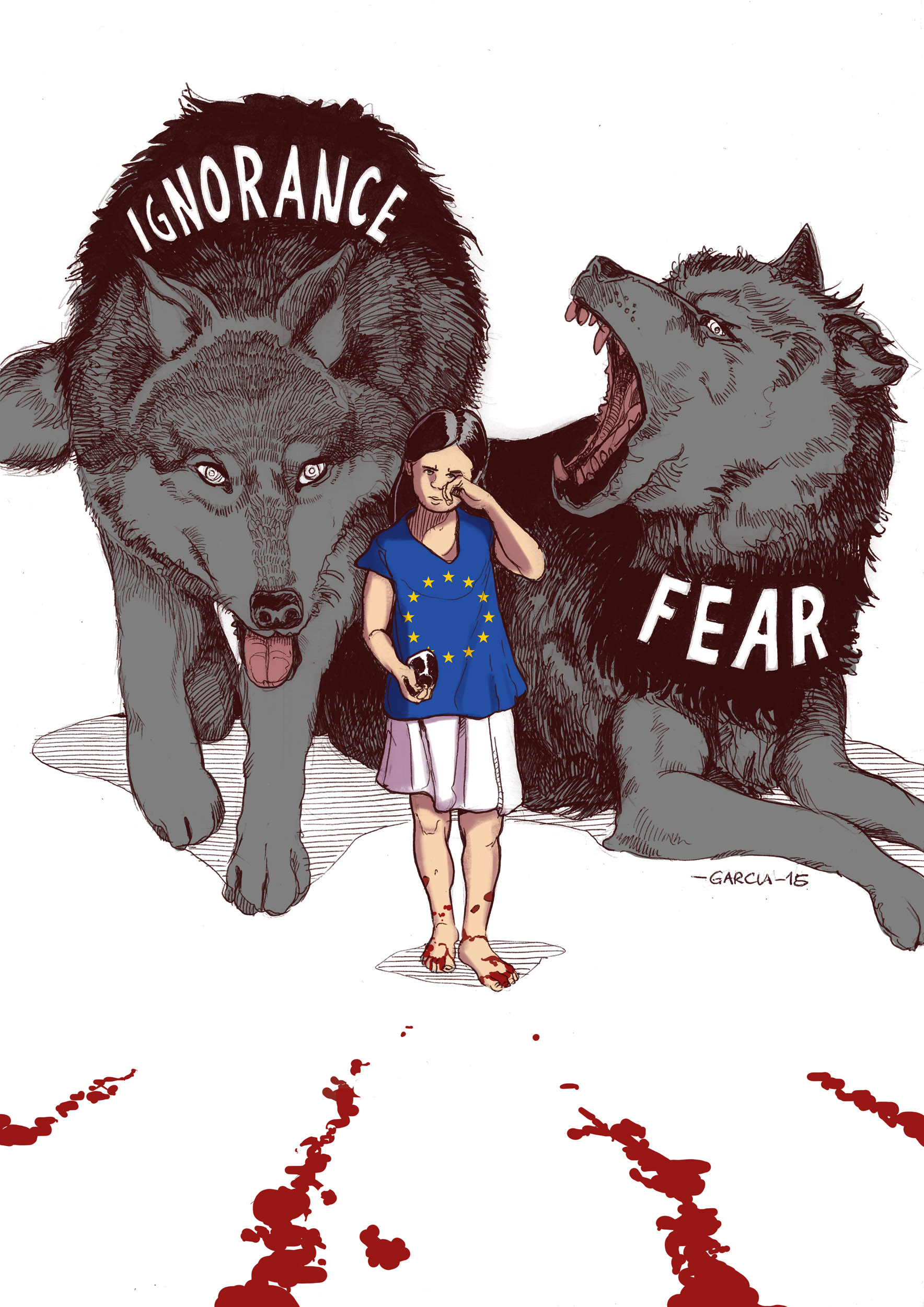 Daniel Garcia Illustration Ignorance Fear Paris Syria Plaestine Africa Terrorrism Bombings Innocents