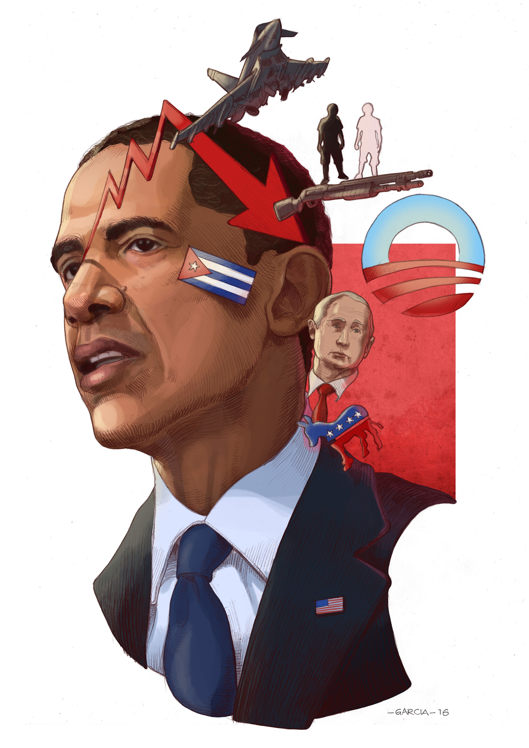 Daniel Garcia Art Illustration Barack Obama President USA America Portrait Caricature 01