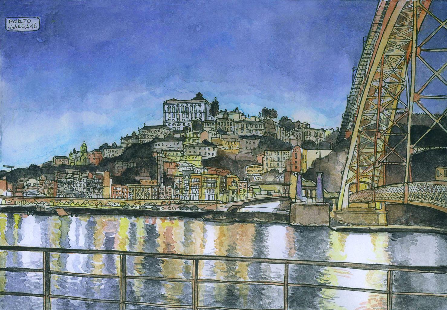Daniel Garcia Art Illustration Prints Watercolor Aguarela Aquarelle Porto View Tourism Night Portugal