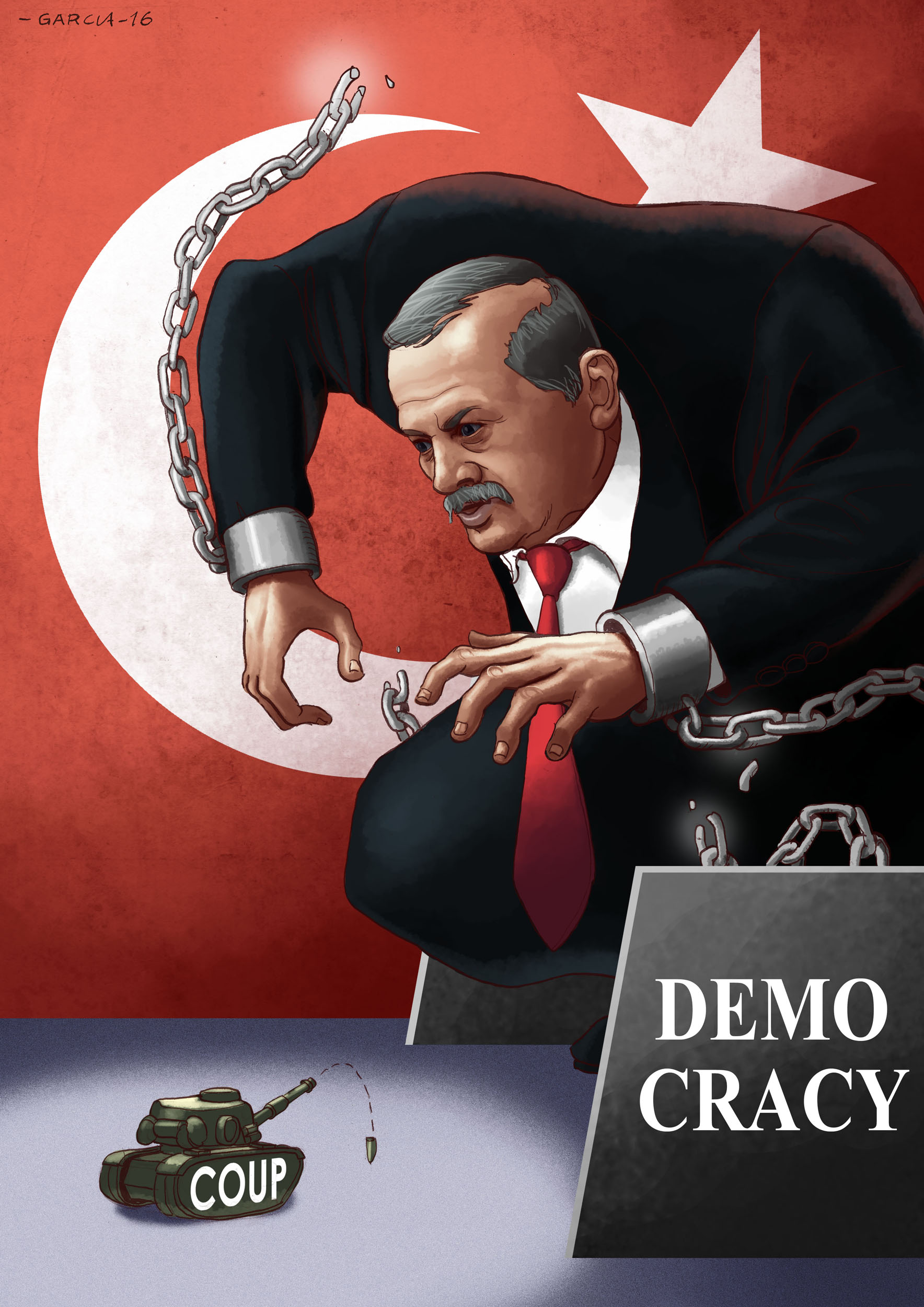 Daniel Garcia Art Cartoon Erdogan Turkey Coup Revolution Turkiye hukumet darbesi purge 2