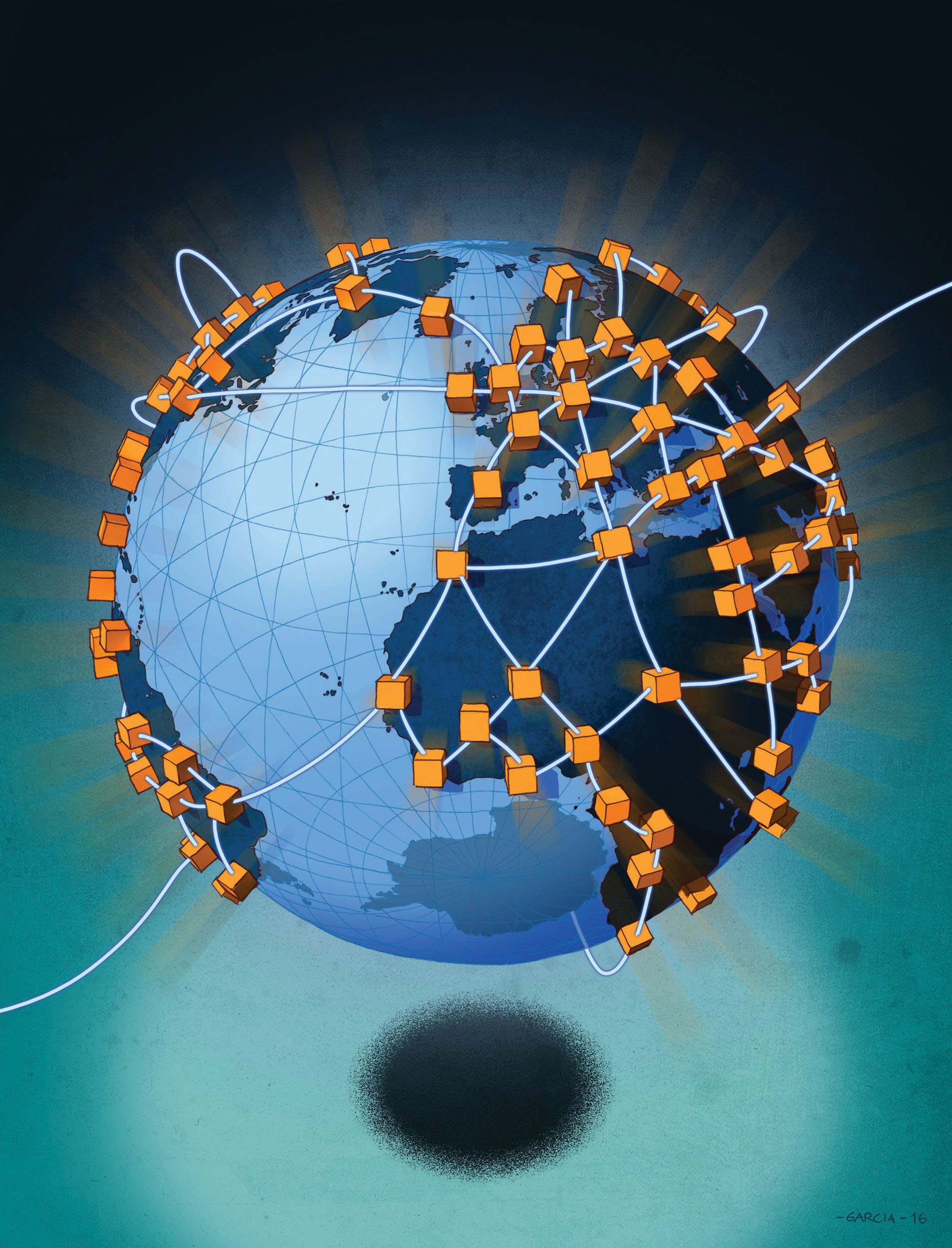 Daniel Garcia Art Illustration Blockchain Internet Technology World