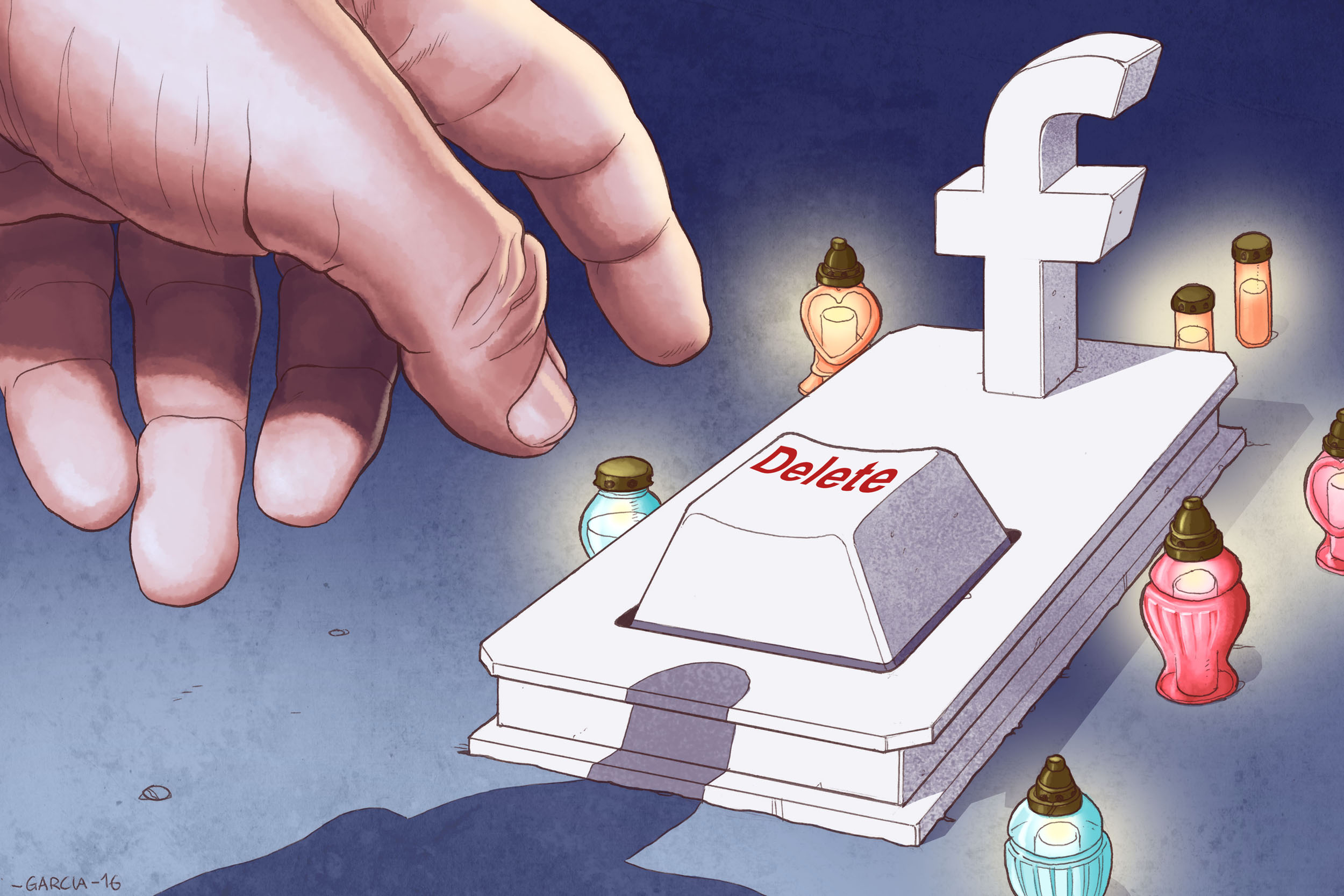 Daniel Garcia Art Illustration Facebook Death Profile Grave Press 01