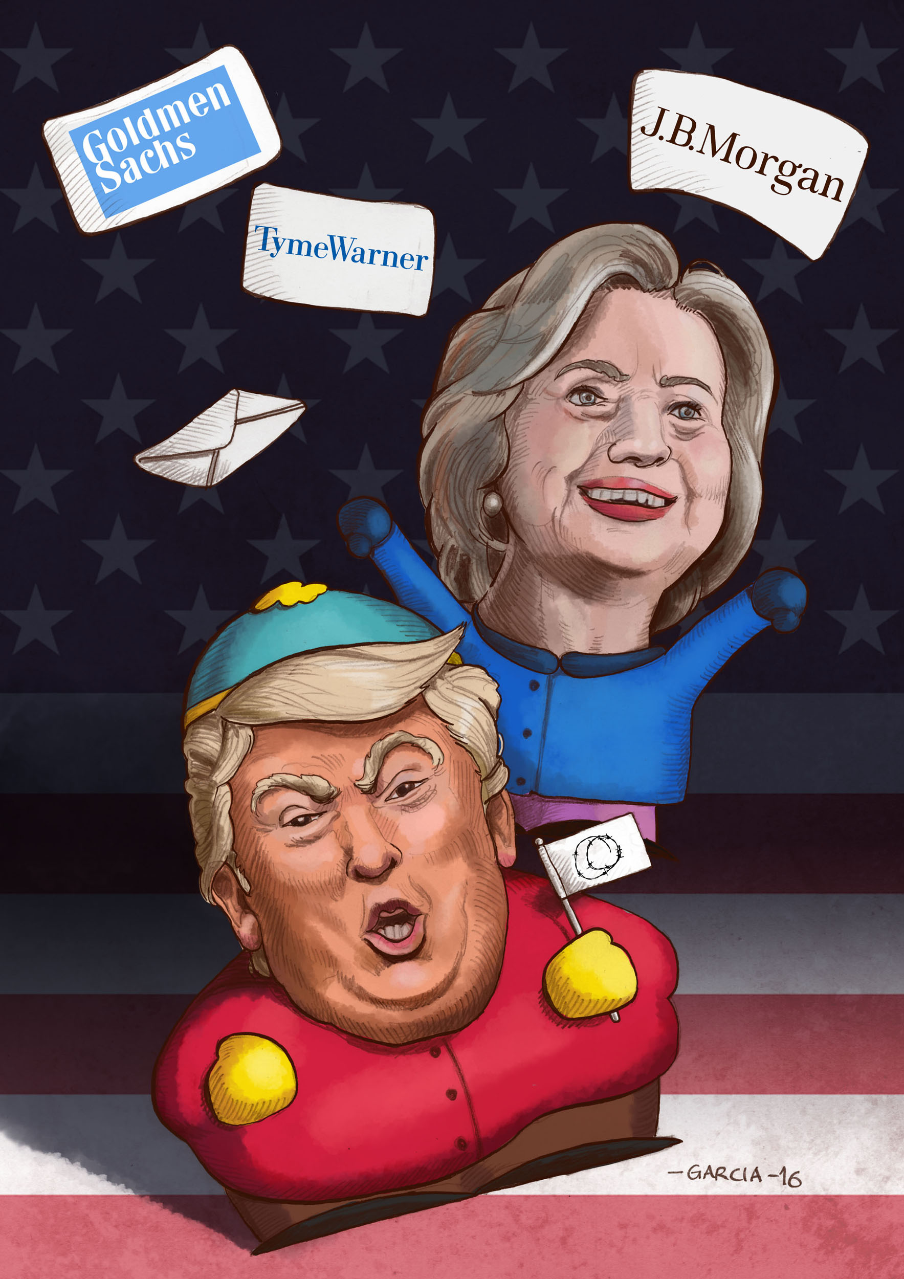 daniel-garcia-art-illustration-usa-presidential-election-2016-hillary-trump-with-her-america-great-again