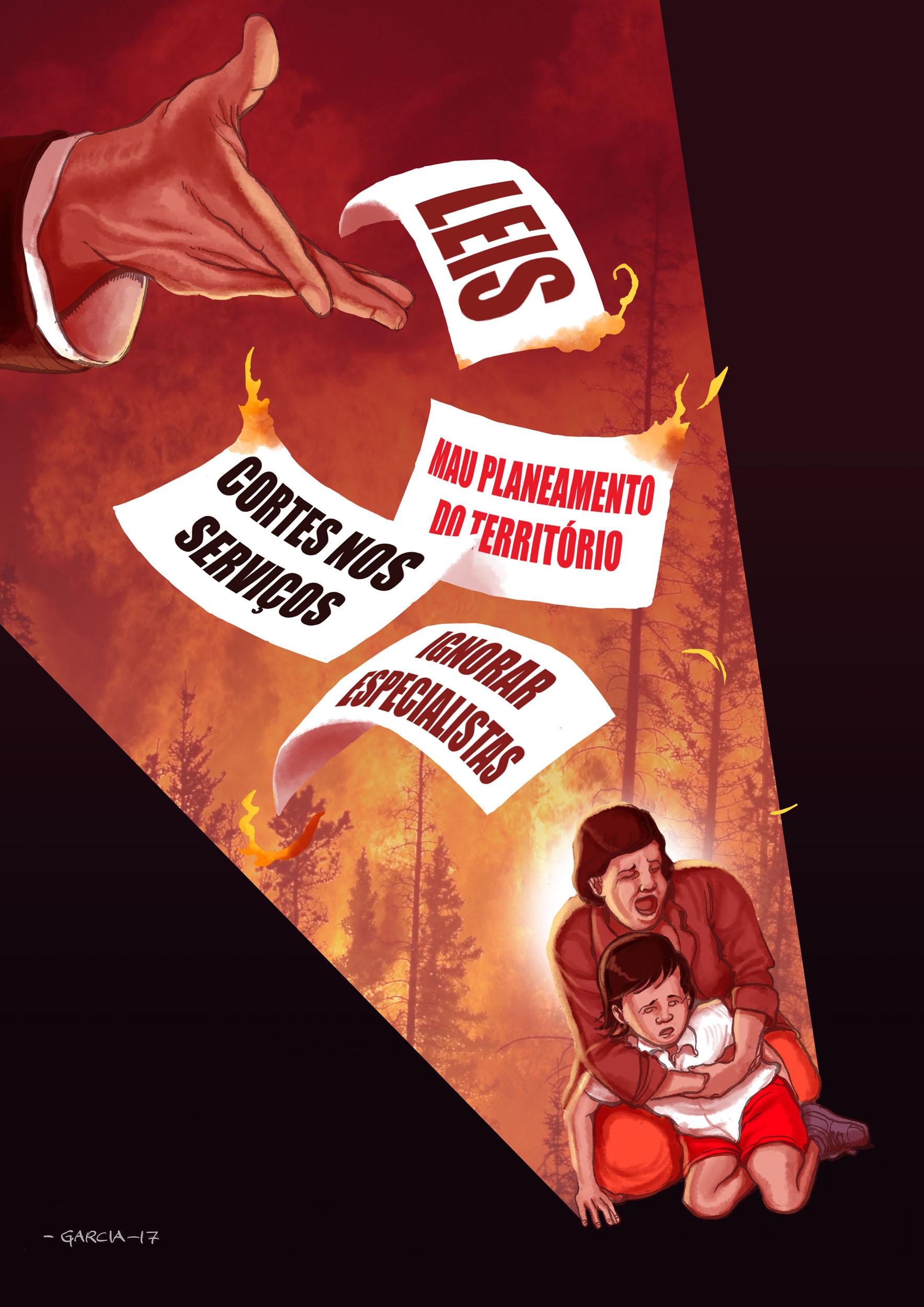 Daniel Garcia Art Illustration Lenha Firewood Fogo Wildfire Portugal Pedrogao Grande Incompetencia Governo