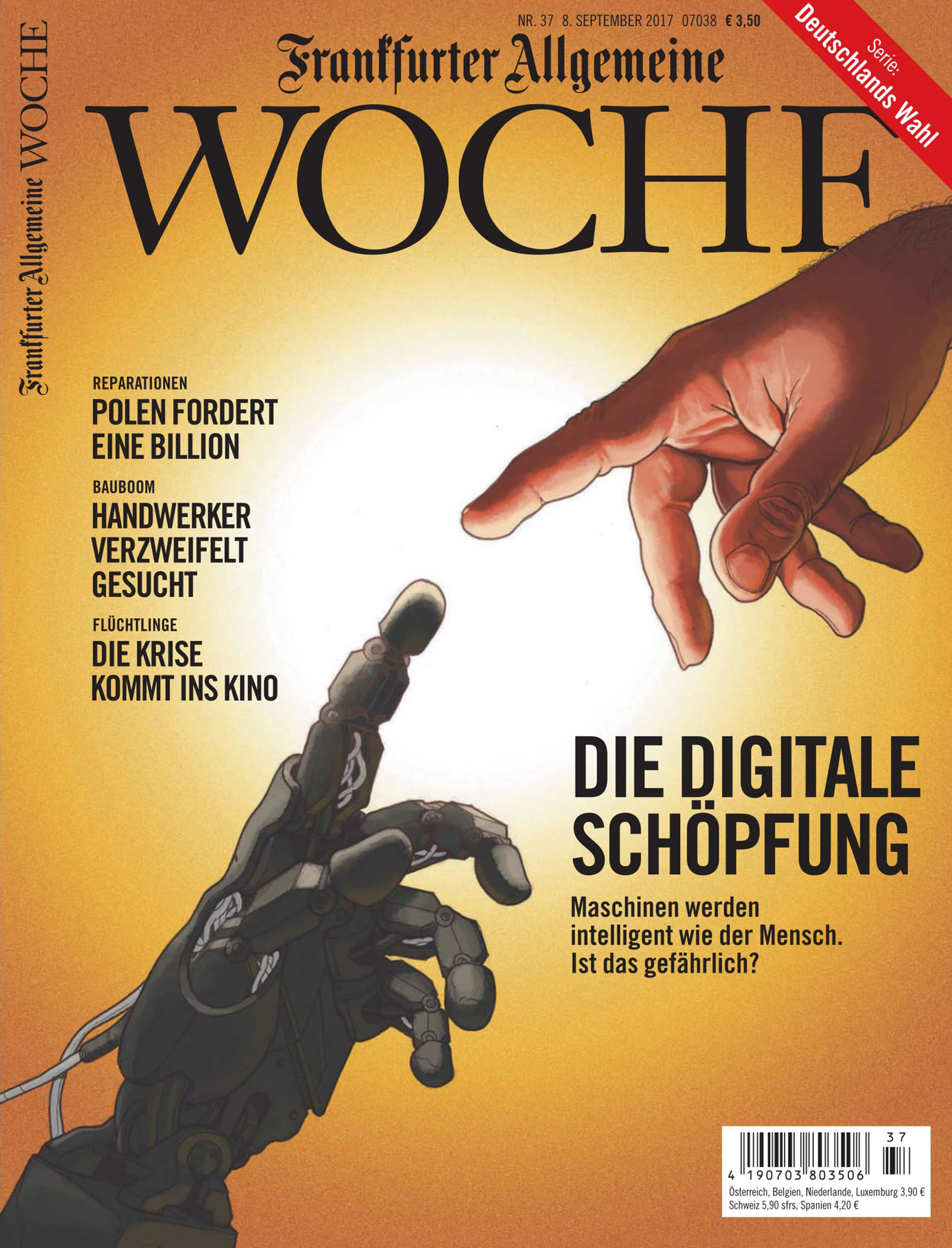 Daniel Garcia Art Illustration Frankfuter Allgemeine Woche Cover Magazine Robot Man Hand Technology 01