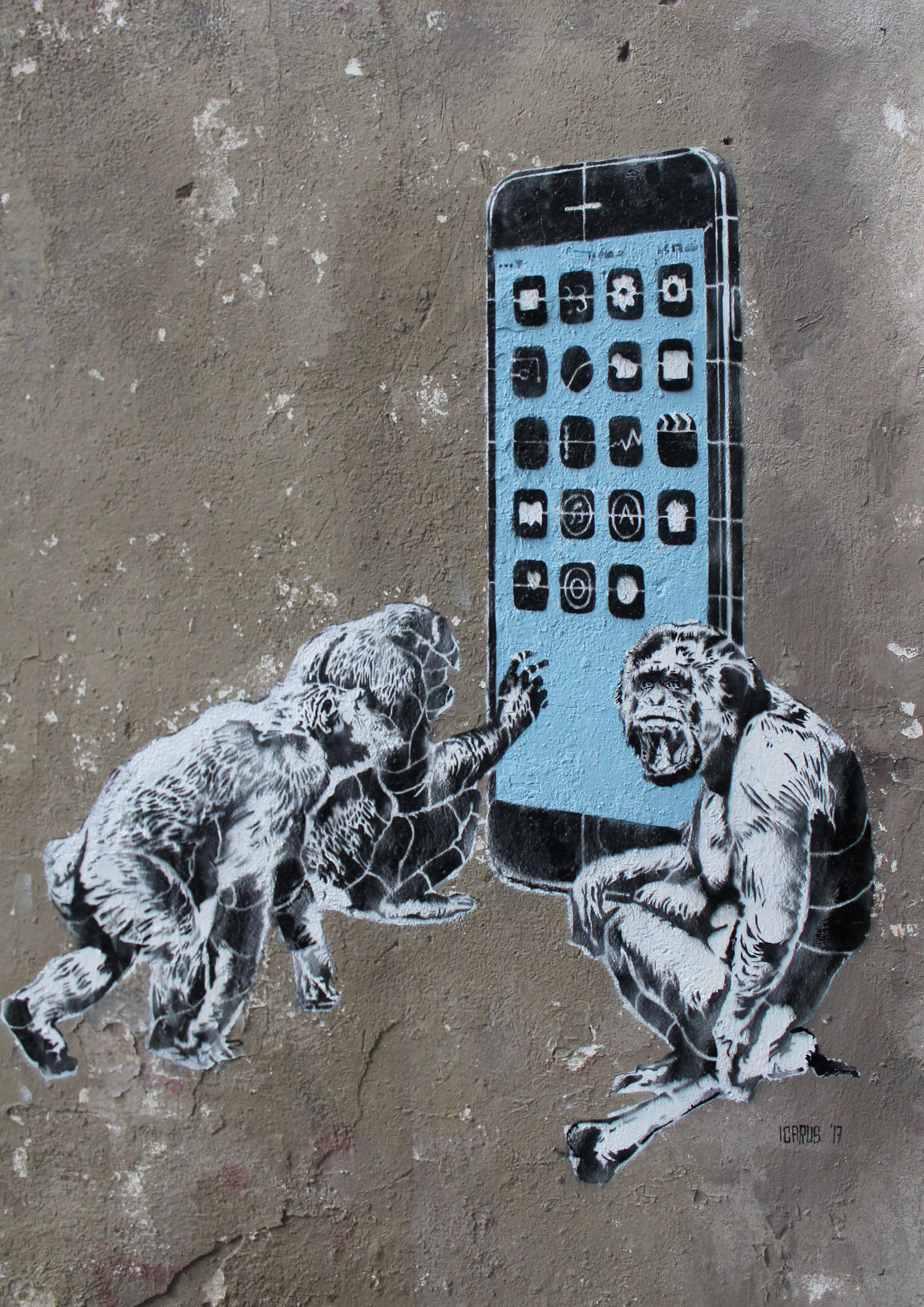Daniel Garcia Art Illustration Stencil Grafitti Szablon Dzem Monkeys Space Odyssey 01