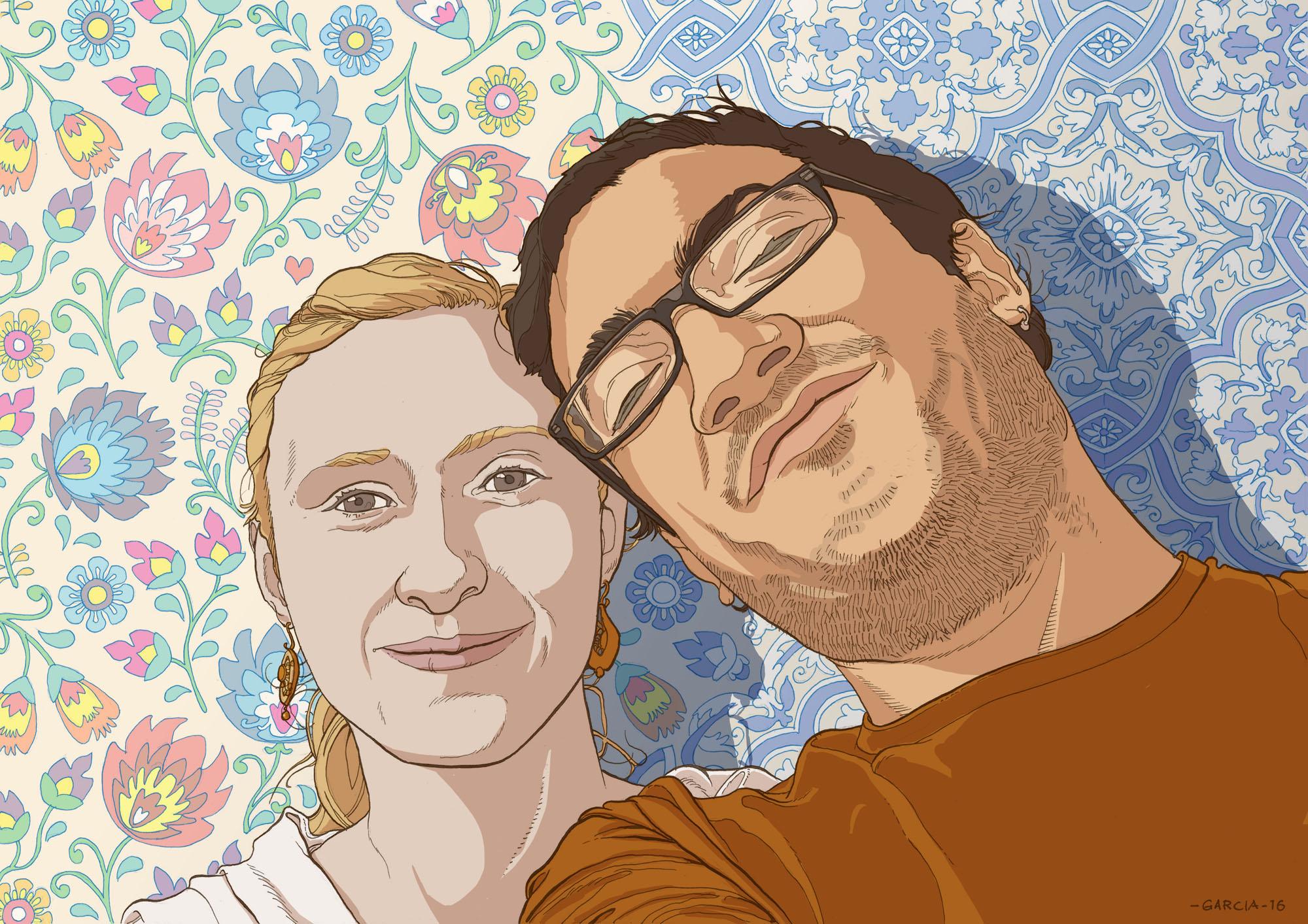 Daniel Garcia Art Illustration Couple Portrait Commission