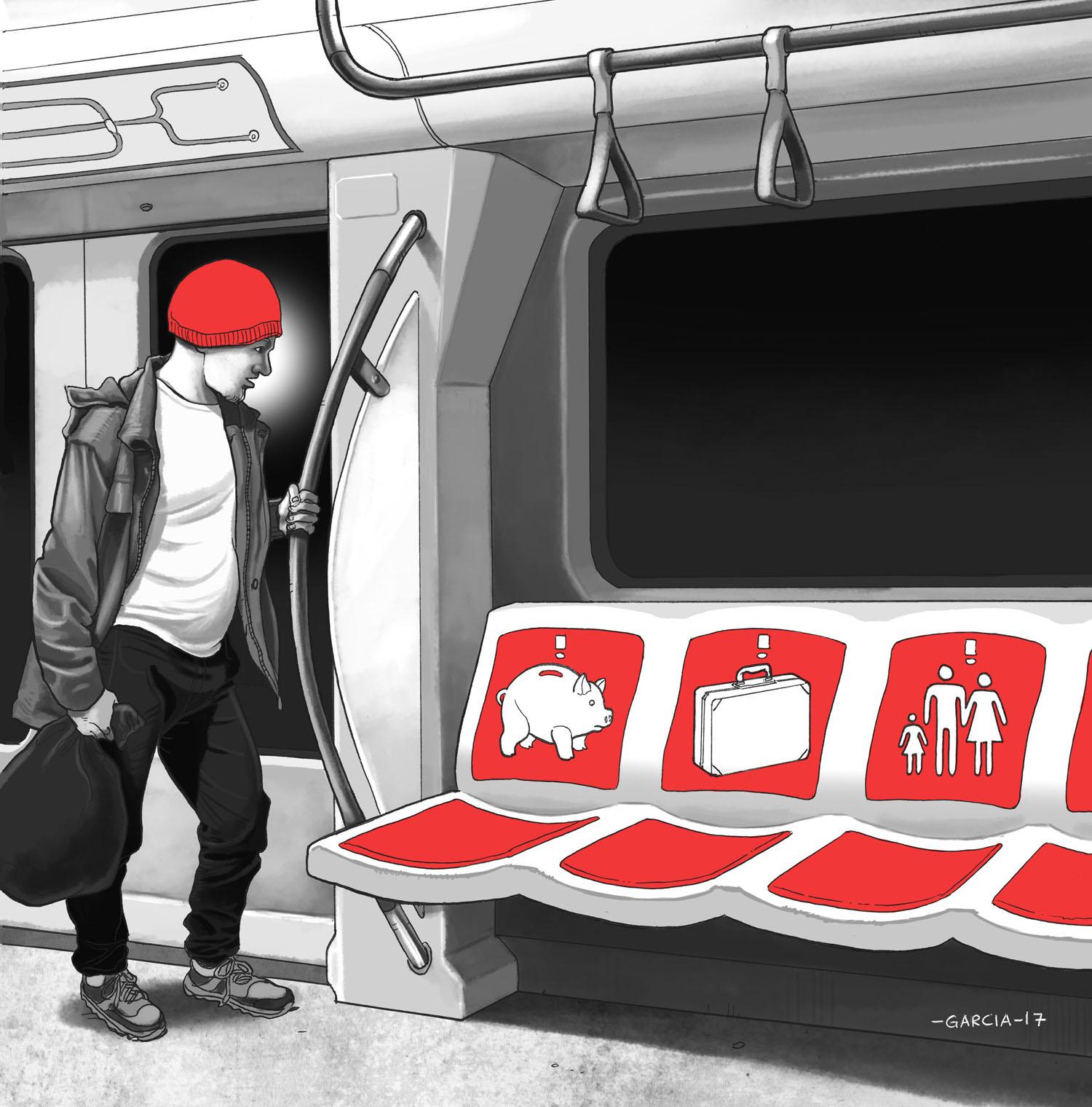 Daniel Garcia Art Illustration Editorial Belgium Belgique Alter Echos Pauverty Pauverte Nudging 01