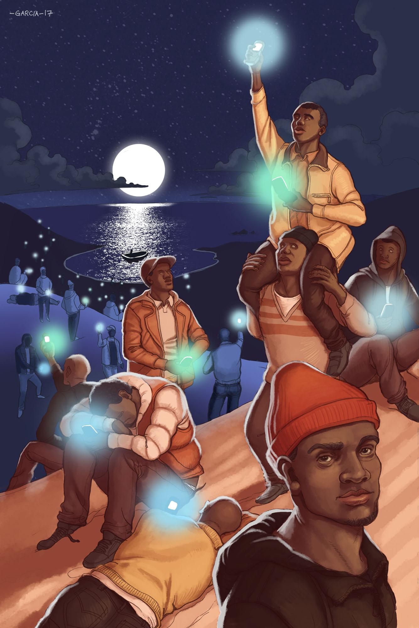 Daniel Garcia Art Illustration Editorial Popshot A Common Message Immigrants Refugees Desert Night Boats Mediterranean 01