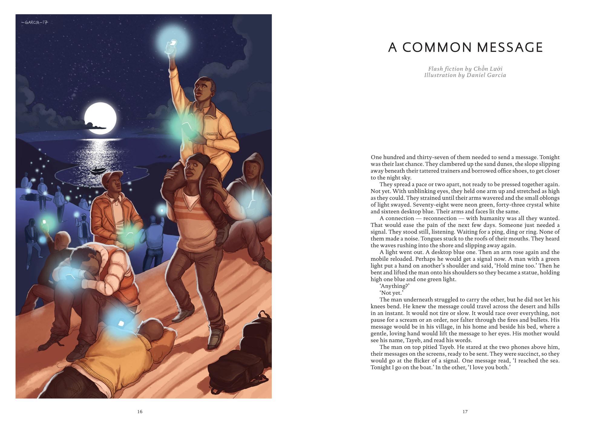 Daniel Garcia Art Illustration Editorial Popshot A Common Message Immigrants Refugees Desert Night Boats Mediterranean 02