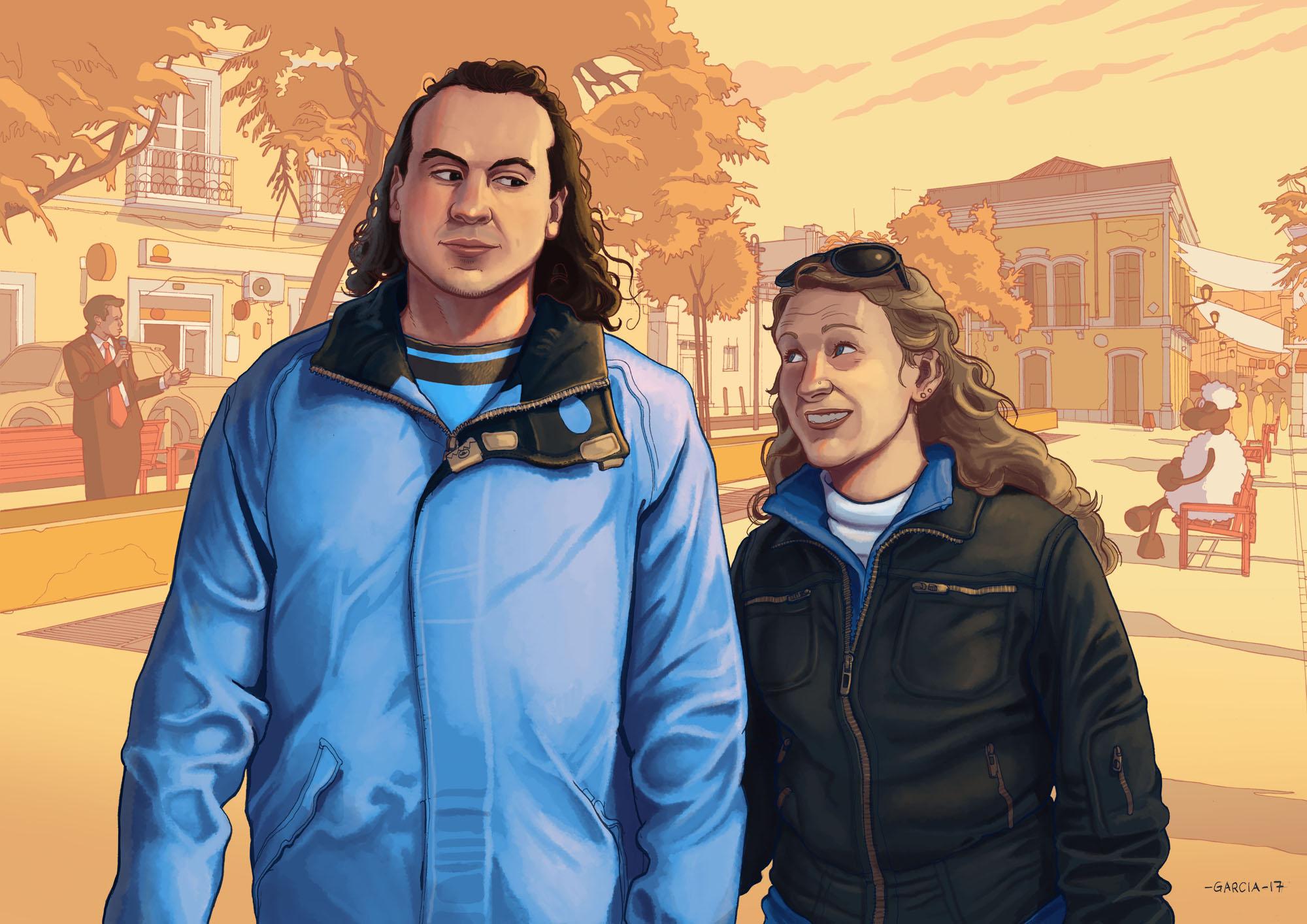 Daniel Garcia Art Illustration The Water Drinkers Couple Man Woman Boy Girl Portrait Commission Caricature 01