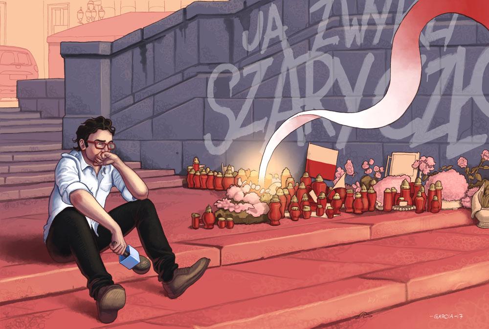 Daniel Garcia Art Illustration Editorial Politics Poland Polityka Press Polska Szary Czlowiek Piotr Szczęsny Pink Blue 01
