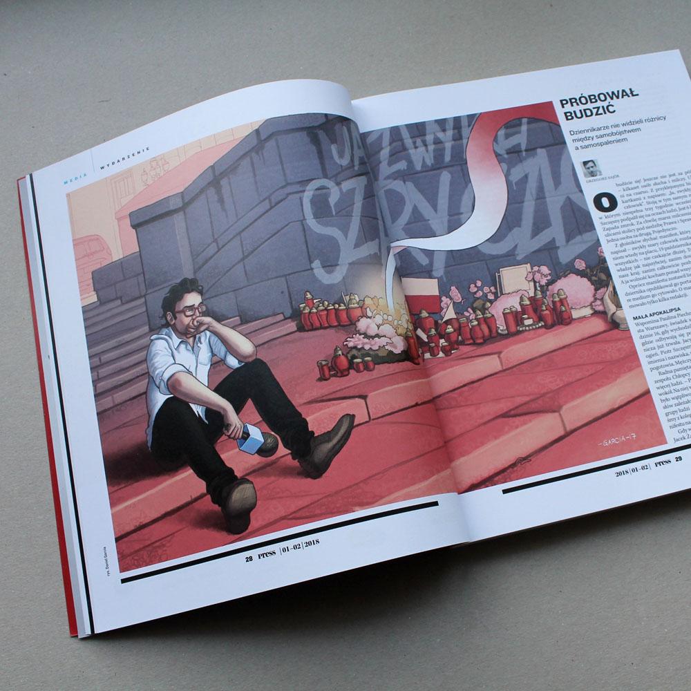 Daniel Garcia Art Illustration Editorial Politics Poland Polityka Press Polska Szary Czlowiek Piotr Szczęsny Pink Blue 02