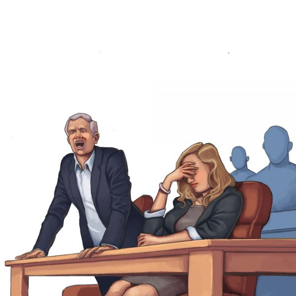 Daniel Garcia Art Illustration Editorial Cent Informatic Technology IT Crime Court Judge Lawyer Defendant Girl 03
