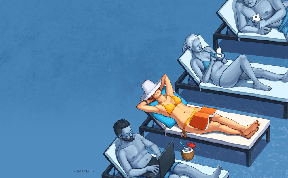 Daniel Garcia Art Editorial Illustration CNet Magazine Summer Holiday Pool Smartphone Addiction Relax Girl Bikini 01#