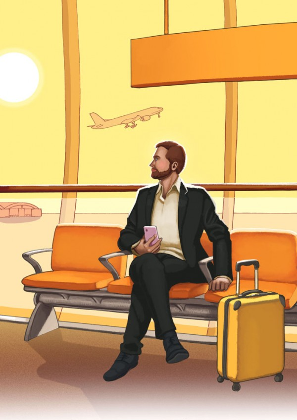 Daniel Garcia Art Editorial Illustration Cannabis Marijuana Vending Machine Airport Businessman Luggage Seats Sunset Yellow 01