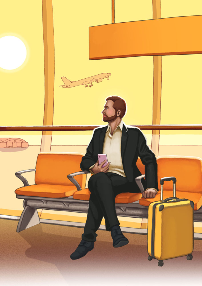 Daniel Garcia Art Editorial Illustration Cannabis Marijuana Vending Machine Airport Businessman Luggage Seats Sunset Yellow 01