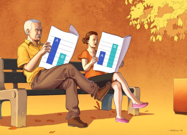 Daniel Garcia Art Editorial Illustration Press Magazine Ilustracja Article Polls Politics Sonaze Man Woman Couple Bench Summer Autumn 00