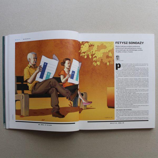 Daniel Garcia Art Editorial Illustration Press Magazine Ilustracja Article Polls Politics Sonaze Man Woman Couple Bench Summer Autumn 02