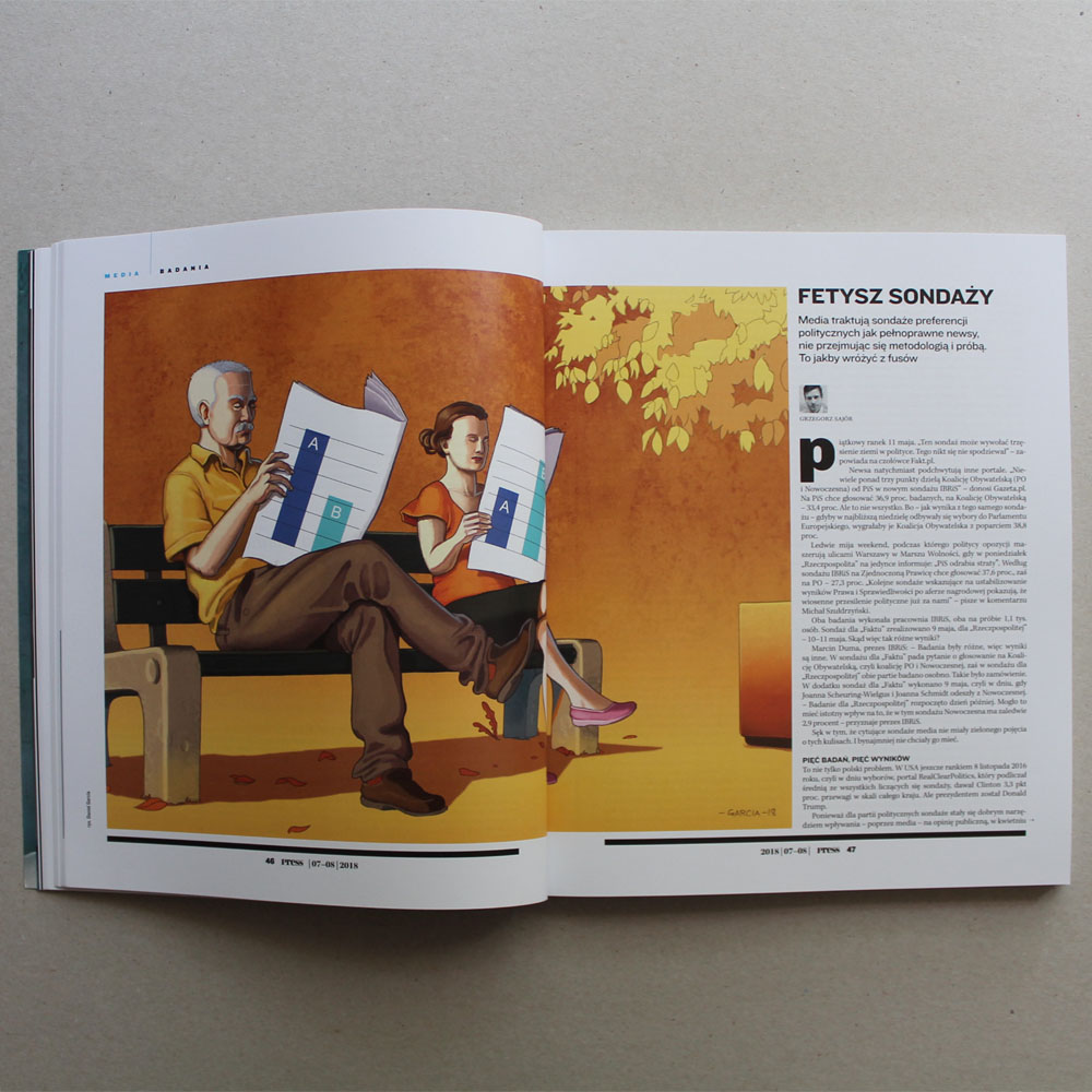 Daniel Garcia Art Editorial Illustration Press Magazine Ilustracja Article Polls Politics Sonaze Man Woman Couple Bench Summer Autumn 02