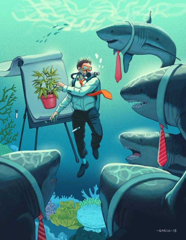 Daniel Garcia Art Editorial Conceptual Illustration Magazine Shark Tank Cannabis Marijuana Underwater Diver Businessman Meeting Presentation Sea Ocean 1