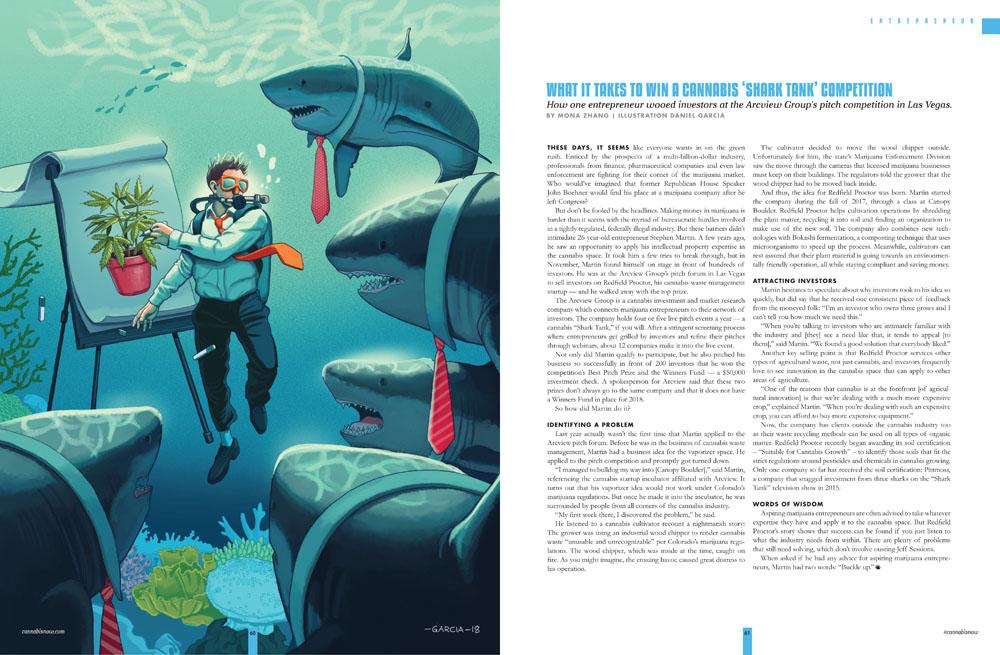Daniel Garcia Art Editorial Conceptual Illustration Magazine Shark Tank Cannabis Marijuana Underwater Diver Businessman Meeting Presentation Sea Ocean 2