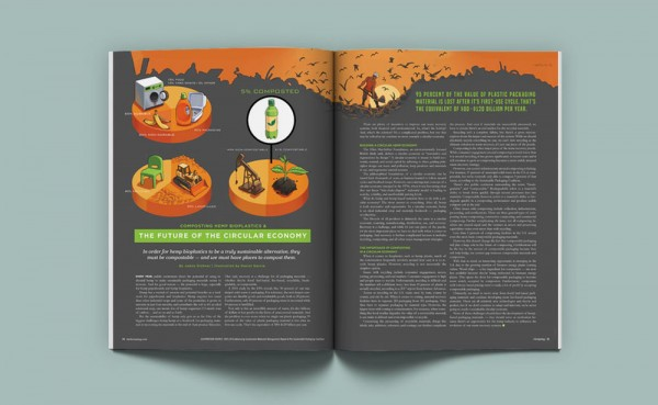 Daniel Garcia Art Editorial Illustration Hemp Magazine Bioplastics Plastic Recyclage Landfill Packaging Durable Composting Graphic Pie Chart 04