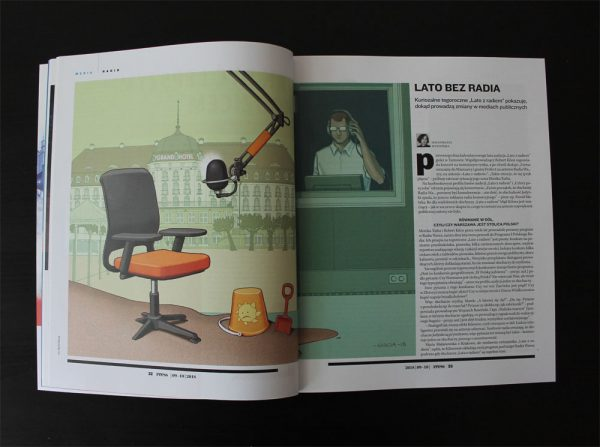 Daniel Garcia Art Editorial Conceptual Illustration Press Lato z Radiem Summer Sand Beach Radio Medio Microphone 2