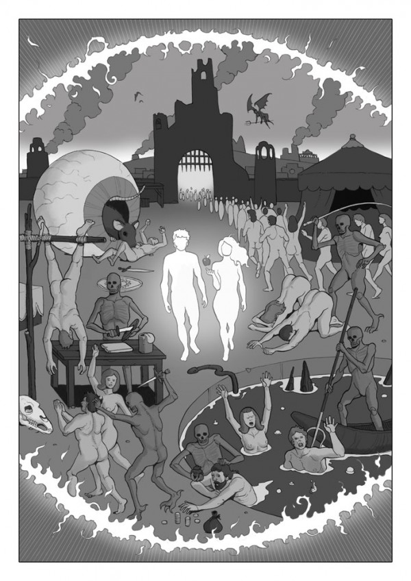 Daniel Garcia Art Editorial Illustration Comics H-Alt Fanzine Sciecne Fiction Space Black Hole Hell Adam Eve Bible 02