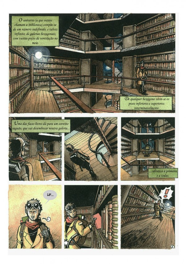 Daniel Garcia Art Illustration Library of Babel Biblioteca de Babel Borges Comic Watercolor 1
