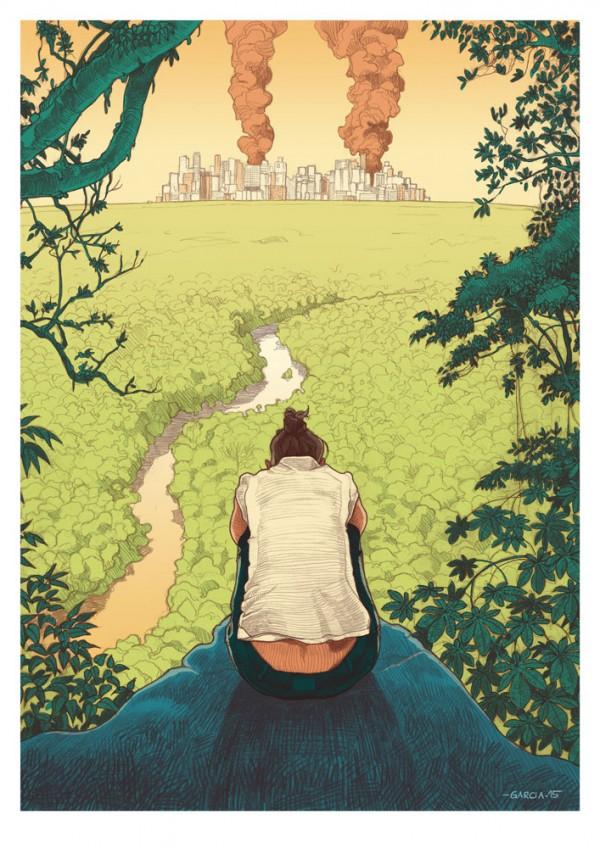 Daniel Garcia Arte Ilustracao Super Interessante Apoclaipse Distopia Gold Jungle Brazil PRINT